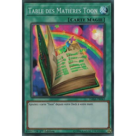 Yugioh - Table des Matières Toon (SR) [DASA]